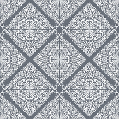 Seamless white and grey floral wallpaper pattern.