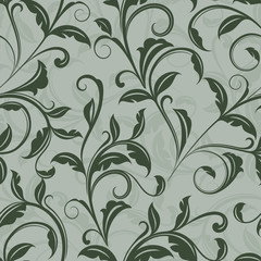 Seamless green leaves floral wallpaper pattern.