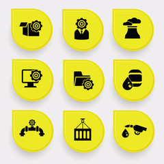 Industry on yellow buttons,vector