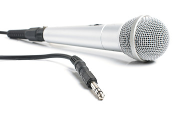 Grey dynamic microphone with audio jack