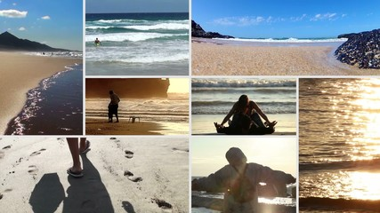 People in various situations on the beach - composition
