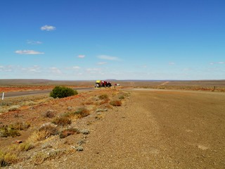 A road train in the desert of  South Australia
