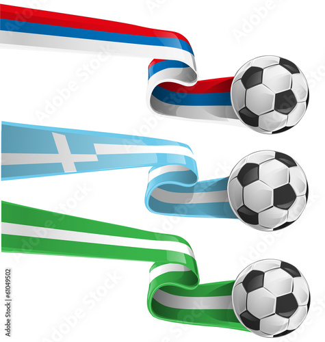 nigeria , greek and russian flag with soccer ball