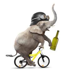 Drunken driver riding a bike. Traffic safety concept.