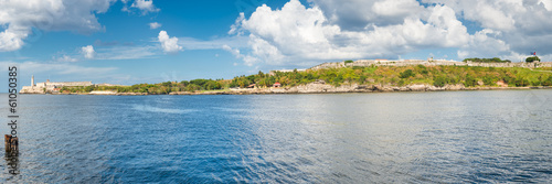 Panoramic view of the old fortresses guarding the bay of Havana