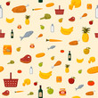 Supermarket food items seamless background - 61050522