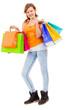 junge attraktive lachende frau auf shopping tour isoliert