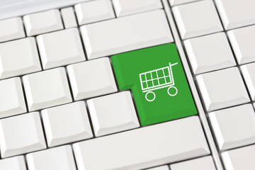 Shopping trolley icon on a computer keyboard