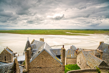 Mont Saint Michel monastery and bay. Normandy, France.