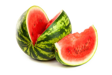 Fresh, ripe, juicy watermelon. Shot on White