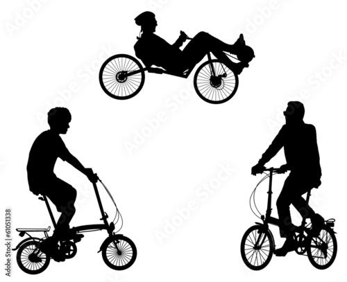 unusual bicyclists silhouettes - vector