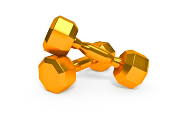 Set of gold dumbells