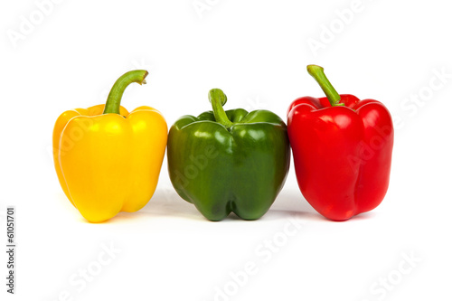 Group of seet bell peppers isolated on white
