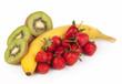 Bananas, kiwi and strawberry isolated on a white background