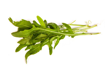 Arugula/rucola  fresh heap leaf on white