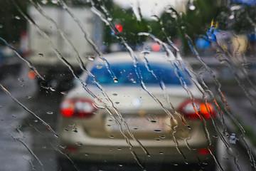 street through rain drops