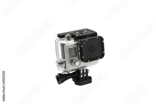 mini wodoodporna kamera na białym tle