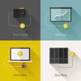 Bitcoin modern flat design elements. Vector illustration