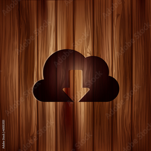 Application cloud download icon. Wooden background