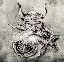 Tattoo art, sketch of a viking warrior, Illustration of an ancie