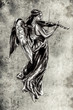 Sketch of tattoo art, music angel with violin