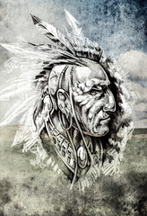 Sketch of tattoo art, indian head over cropfield background