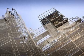 Echafaudage sur un chantier de rénovation