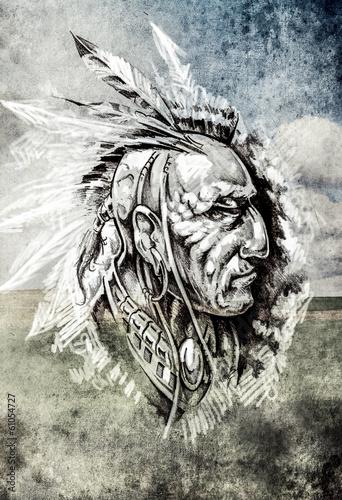 skizze-der-tatowierungskunst-indischer-kopf-uber-cropfield-hintergrund