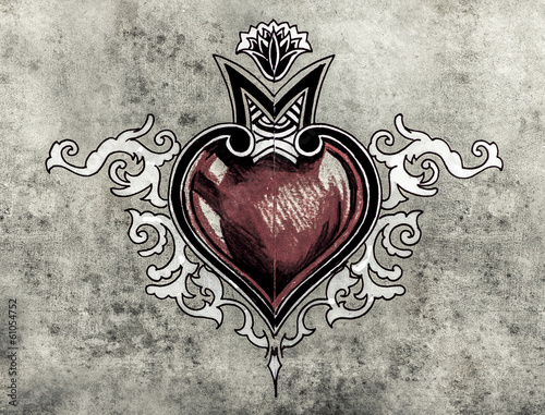 Valentine Day. Sketch of tattoo art, tribal design, heart