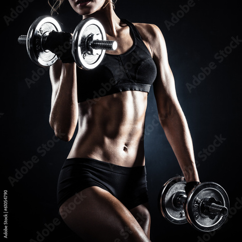 Fitness with dumbbells - 61054790