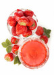 bowl with strawberries and jelly isolated on white background