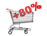 shopping cart with plus 80 percent sign isolated on white backgr