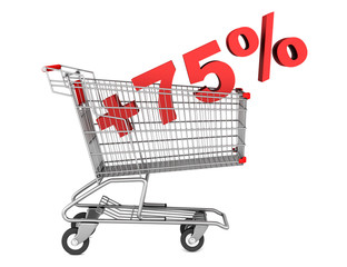 shopping cart with plus 75 percent sign isolated on white backgr