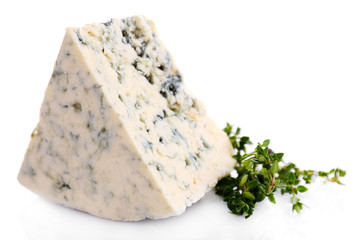 Tasty blue cheese with thyme, isolated on white