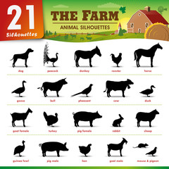 21 Farm animal silhouettes