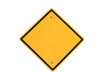 empty yellow road sign on white background