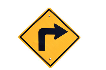 yellow right turn road sign on white  background