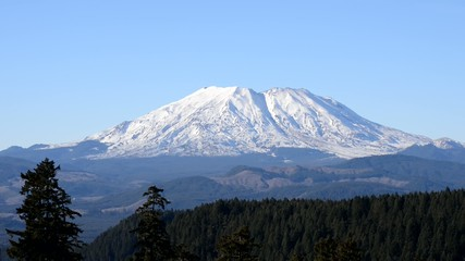Mount St. Helens on a clear day against clear blue sky