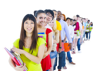 Multi-ethnic Group of Students Standing in Line