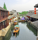 Zhouzhuang, Tourist boat in a village canal.
