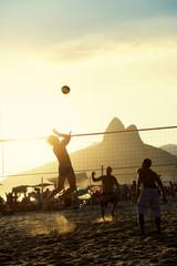 Brazilians Playing Volleyball Rio de Janeiro Brazil Sunset