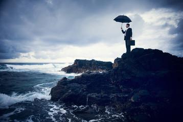 Businessman Facing a Storm