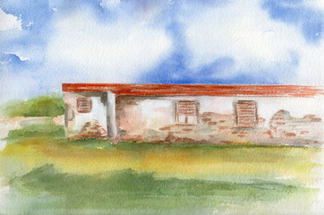 Obsoleted home. Watercolor
