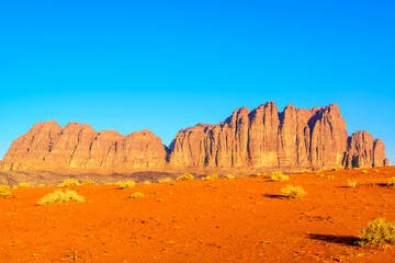 Jebel Qatar in Jordanian desert, Wadi Rum at morning.