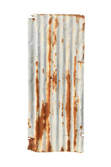 Rusty corrugated metal (with clipping path) isolated on white