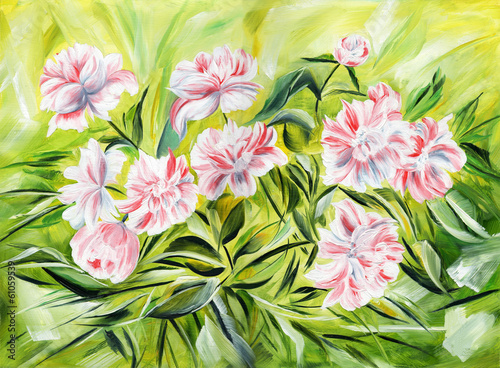 Fototapeta Gentle peonies. Oil painting on canvas.