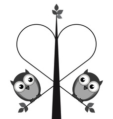 Owl valentine lovers on a heart tree