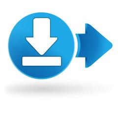 téléchargement icône sur symbole web bleu