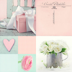 Collage of flowers and presents