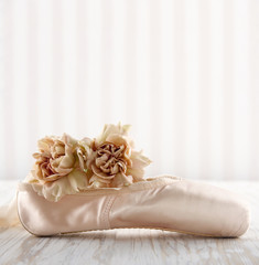 Cream color ballet pointe shoes